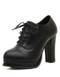 Leatherette Chunky Heel Ankle Boots With Lace-up shoes (088056977)