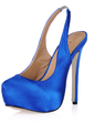 Women's Silk Like Satin Stiletto Heel Closed Toe Platform Pumps Slingbacks (047016487)