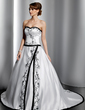 Ball-Gown Sweetheart Chapel Train Satin Wedding Dress With Embroidered (002014784)