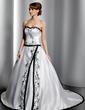 Balo Elbisesi Kalp Kesimli Şapel Kuyruk Satin Gelinlik Ile Nakışlı (002014784)
