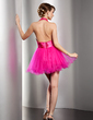 A-Line/Princess Halter Short/Mini Tulle Homecoming Dress With Ruffle Lace Beading (022020851)