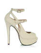Kvinnor Lackskinn Stilettklack Sandaler Plattform Peep Toe med Spänne skor (085026446)