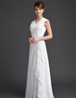 A-Line/Princess V-neck Floor-Length Chiffon Mother of the Bride Dress With Ruffle Cascading Ruffles (008006565)