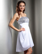 Empire Strapless Asymmetrical Chiffon Sequined Homecoming Dress With Ruffle (022010357)