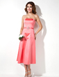 A-Line/Princess Strapless Tea-Length Satin Bridesmaid Dress With Beading (007004049)
