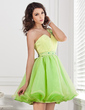 A-Line/Princess One-Shoulder Short/Mini Organza Homecoming Dress With Ruffle Beading (022020894)