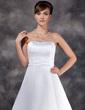 Balklänning Axelbandslös Golvlång Satäng Bröllopsklänning (002022560)