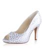 Women's Silk Like Satin Cone Heel Peep Toe Platform Sandals With Rhinestone (047026738)