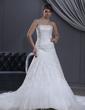 Princesový Srdcový výstřih Kostelní vlečka Satin Tulle Svatební šaty S Lace Zdobení korálky (002000165)