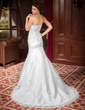 Trumpet/Mermaid Sweetheart Chapel Train Satin Organza Wedding Dress With Ruffle Lace Beading Sequins (002000302)