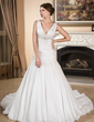 A-Line/Princess V-neck Chapel Train Taffeta Wedding Dress With Ruffle Beading (002001304)