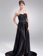 A-Line/Princess Sweetheart Court Train Satin Evening Dress With Beading Sequins (017020656)