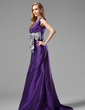 Trumpet/Mermaid V-neck Sweep Train Taffeta Bridesmaid Dress With Ruffle Sash Bow(s) (007004108)