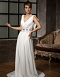 A-Line/Princess V-neck Court Train Chiffon Wedding Dress With Ruffle Beading Appliques Lace (002011526)