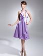 A-Line/Princess Halter Knee-Length Charmeuse Bridesmaid Dress With Ruffle (007015660)