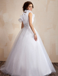 Ball-Gown One-Shoulder Floor-Length Tulle Quinceanera Dress With Ruffle Beading Sequins (021021816)