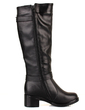 Leatherette Low Heel Knee High Boots With Buckle shoes (088033802)