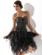A-Line/Princess Sweetheart Knee-Length Organza Cocktail Dress With Beading (016006686)
