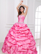 Ball-Gown Sweetheart Floor-Length Taffeta Quinceanera Dress With Ruffle Beading Appliques Lace Sequins (021017408)