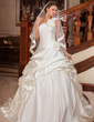 Ball-Gown One-Shoulder Court Train Satin Wedding Dress With Ruffle Flower(s) (002000654)