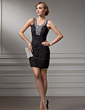 Sheath/Column Scoop Neck Short/Mini Chiffon Cocktail Dress With Ruffle Beading (016021225)