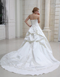 Ball-Gown Sweetheart Cathedral Train Satin Wedding Dress With Embroidered Ruffle Beading (002004481)