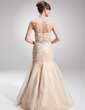 Trumpet/Mermaid Strapless Floor-Length Organza Prom Dress With Ruffle Beading (018022533)