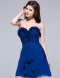 A-Line/Princess Sweetheart Knee-Length Chiffon Bridesmaid Dress With Cascading Ruffles (007037183)