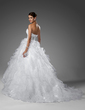 Ball-Gown Sweetheart Chapel Train Satin Organza Wedding Dress With Beading Cascading Ruffles (002004753)