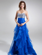 A-Line/Princess Sweetheart Sweep Train Organza Sequined Prom Dress With Cascading Ruffles (018004862)