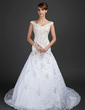 A-Line/Princess Off-the-Shoulder Chapel Train Lace Wedding Dress With Beading Appliques Lace (002015363)