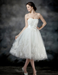 A-Line/Princess Sweetheart Tea-Length Tulle Wedding Dress With Ruffle Lace Beading Flower(s) Bow(s) (002017203)