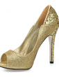 Women's Sparkling Glitter Stiletto Heel Peep Toe Sandals With Sequin (047016570)