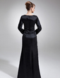 Sheath/Column Scoop Neck Floor-Length Charmeuse Mother of the Bride Dress With Beading (008006227)