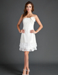 Sheath/Column Strapless Knee-Length Taffeta Homecoming Dress With Ruffle Lace Flower(s) (022015569)