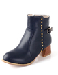 Leatherette Chunky Heel Ankle Boots With Buckle shoes (088055020)