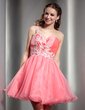 A-Line/Princess One-Shoulder Short/Mini Organza Homecoming Dress With Ruffle Beading Appliques Lace Sequins (022010576)