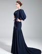 A-Line/Princess One-Shoulder Court Train Chiffon Evening Dress With Ruffle Beading (017019762)