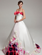 Ball-Gown Strapless Sweep Train Satin Quinceanera Dress With Flower(s) (021017535)