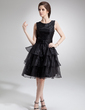 A-Line/Princess Scoop Neck Knee-Length Organza Homecoming Dress With Cascading Ruffles (022011192)