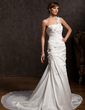 Trumpet/Mermaid One-Shoulder Chapel Train Taffeta Wedding Dress With Ruffle Lace Flower(s) (002015177)