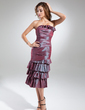 Sheath/Column Scalloped Neck Knee-Length Taffeta Cocktail Dress With Cascading Ruffles (008015552)