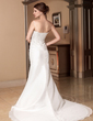 Trumpet/Mermaid Sweetheart Chapel Train Taffeta Wedding Dress With Ruffle Lace Beading (002000137)
