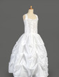 Ball Gown Floor-length Flower Girl Dress - Taffeta Sleeveless Scoop Neck With Beading/Sequins/Pick Up Skirt (010014648)