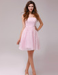 A-Line/Princess Strapless Knee-Length Lace Homecoming Dress (022013976)