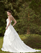 Ball-Gown Strapless Chapel Train Taffeta Wedding Dress With Ruffle Bow(s) (002001255)