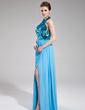 A-Line/Princess Halter Floor-Length Chiffon Sequined Evening Dress With Split Front (017019745)