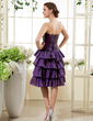 A-Line/Princess Sweetheart Knee-Length Taffeta Homecoming Dress With Beading Cascading Ruffles (022015441)