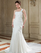 Trumpet/Mermaid One-Shoulder Chapel Train Chiffon Wedding Dress With Ruffle Beading Sequins (002000562)