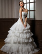 Ball-Gown Sweetheart Sweep Train Organza Wedding Dress With Cascading Ruffles (002012704)
